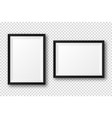 realistic blank black picture frame with shadow vector image vector image