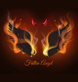 realistic burning wings black feathers demon vector image