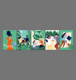 relax time cards happy people relaxing on nature vector image
