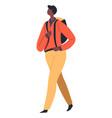 school boy walking with satchel male character vector image