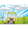 school bus and sunrise vector image