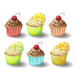 set capkakes hand draw chocolate and citrus vector image vector image