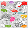 Set of color chalk drawn food spices vector image