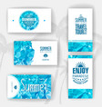 Set of geometric summer visiting card vector image