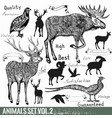 Set of hand drawn detailed wild animals