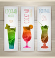 Set of watercolor cocktail banners vector image vector image