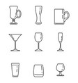 set outline alcohol glass icons vector image vector image