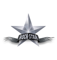 Silver star with Rock Star banner vector image vector image