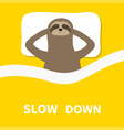 sloth sleeping cant sleep going to bed concept vector image vector image