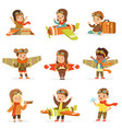 small children in pilot costumes dreaming of vector image vector image