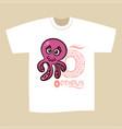 t-shirt print design letter o octopus vector image vector image