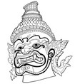 thai demon black and white vector image vector image