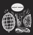 vintage meat on chalk board hand drawn ham ham vector image