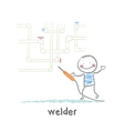 welder near pipes with welding machine vector image vector image