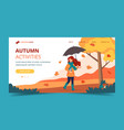 woman with umbrella and coffee in autumn landing vector image vector image
