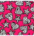 Zebra print hearts and stars background vector image