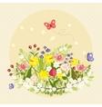Spring Butterflies Flowers Art Colorful Vintage vector image