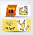 banners with tequila bottle shot lemon salt vector image