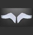 3d realistic pair white angel style wings vector image