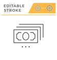 banknote editable stroke line icon vector image vector image