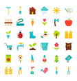 Big Spring Garden Flat Objects Set vector image vector image