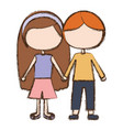 blurred colorful faceless couple kids in casual vector image vector image