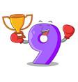boxing winner paper cut number nine letter mascot vector image vector image