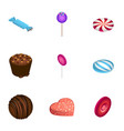 candy icon set isometric style vector image