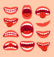 cartoon mouth elements collection show tongue vector image vector image