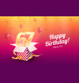 celebrating 67th years birthday vector image