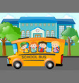 children riding school bus to school vector image vector image