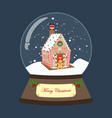 christmas snow globe with gingerbread house vector image vector image