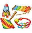 Colorful wooden toys set vector image