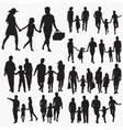 Family with one child silhouettes