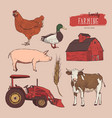 farm set hand drawn vector image