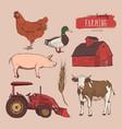 farm set hand drawn vector image vector image