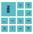 flat icons moustache looking-glass comb and vector image vector image