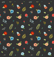 floral seamless pattern with flowers buds leaves vector image vector image