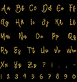 Gold alphabet isolated on black background vector image