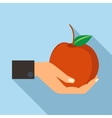 Hand holding apple icon flat style vector image