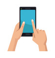 hand holding black smartphone touching blue screen vector image