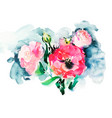 handmade watercolor painting of pink roses vector image vector image