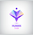 Human logo sign origami shiny modern man