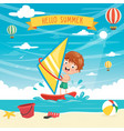 kid windsurfing vector image