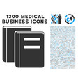library books icon with 1300 medical business vector image vector image
