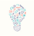 light bulb formed of social media hand vector image vector image