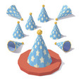 low poly party hat vector image