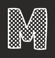 M alphabet letter with white polka dots on black vector image vector image