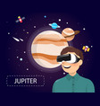 man wearing virtual reality glasses looking vector image vector image