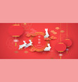 mid autumn festival red papercut bunny background vector image